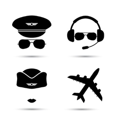 Stewardess pilot airplane icons vector image vector image