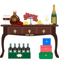 Wine and light refreshments vector image vector image