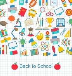 Back to School Background with Education Objects vector image vector image