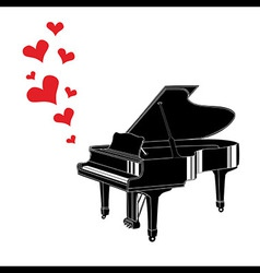 Heart love music piano playing a song vector image