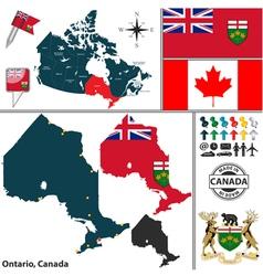 Map of Ontario vector image vector image