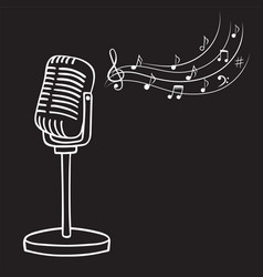 old microphone and music notes hand drawn vector image vector image