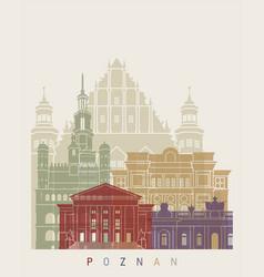 poznan skyline poster vector image