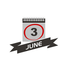 3 june calendar with ribbon vector image