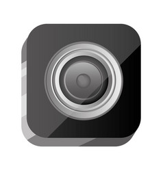 3d button open lens of digital camera vector image