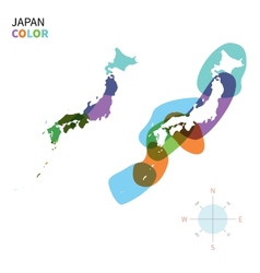 Abstract color map of japan vector
