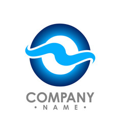 abstract wave symbol logo with circle in the vector image