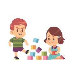 aggressive bully kicking toys cartoon boy breaks vector image