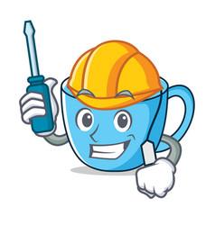 Automotive tea cup mascot cartoon vector
