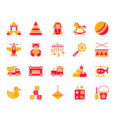 Baby toy simple color flat icons set vector