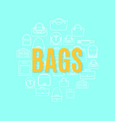 Bags line icons in circle shape vector