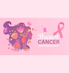Banner for breast cancer awareness month vector