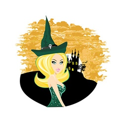 beautiful Halloween witch vector image