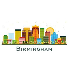 Birmingham alabama city skyline with color vector