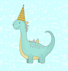 birthday with cute dino vector image