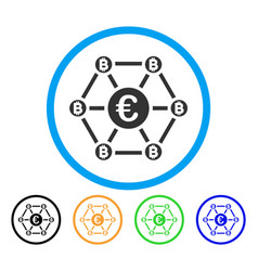 bitcoin euro net structure rounded icon vector image