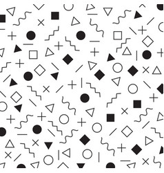 black and white geometric elements memphis style vector image
