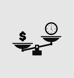 Black scales icon with time and money in flat vector
