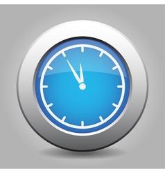 Blue metallic button white last minute clock icon vector
