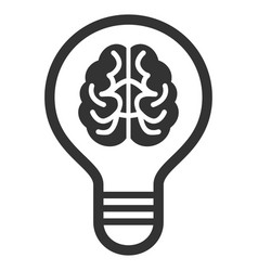 Brain bulb flat icon vector