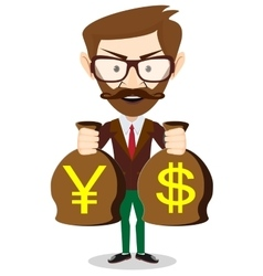 Businessman with a bag full of money vector