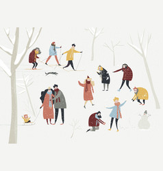 cartoon happy people enjoying in winter vector image