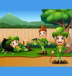 Cartoon leprechaun in park for parade happy vector