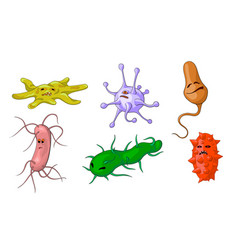 cartoon style set of funny microbe characters vector image