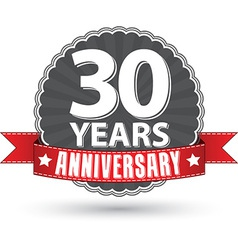 Celebrating 30 years anniversary retro label vector