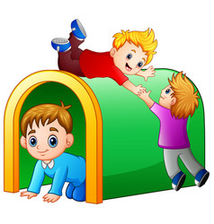 Children playing playground tunnel vector