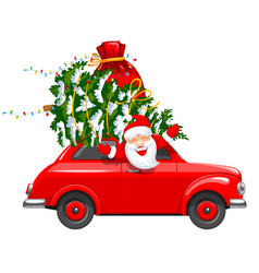 Christmas character santa in the car vector