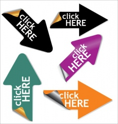 click here stickers set vector image