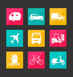 collection transport icons vector image