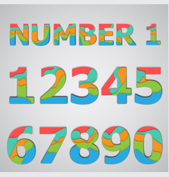 Colorful papercut layered number set vector