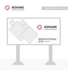 Company bill board design with world map logo vector