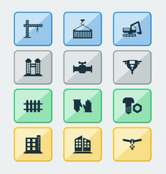 Construction icons set with fence auger valve vector