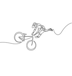 continuous one line cyclist in a helmet performs a vector image