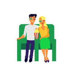 couple dating in cinema and watching movie flat vector image