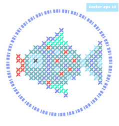 cross stitch fish vector image vector image