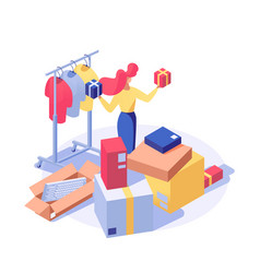 Customer buying products isometric vector