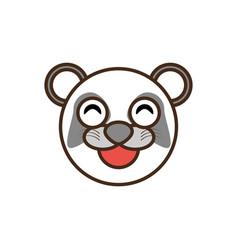 cute panda face kawaii style vector image