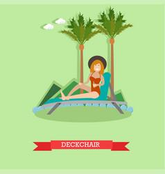 Deckchair in flat style vector