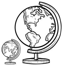 doodle globe world vector image