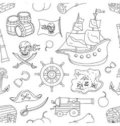 doodle pattern set pirates vector image