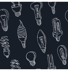 Doodle seamless pattern light bulbs vector image
