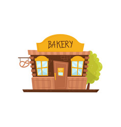 Facade of bakery shop store with big signboard vector