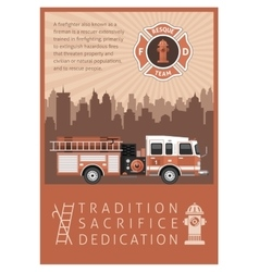 Firefighter Retro Poster vector image
