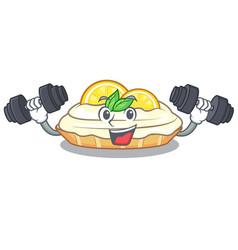 Fitness cartoon lemon cake with sugar powder vector