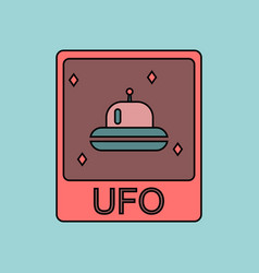 Flat icon design collection flying saucer on card vector