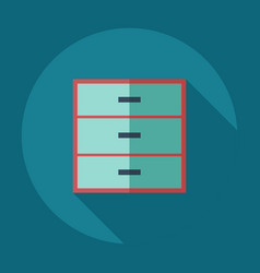 Flat modern design with shadow icons bedside table vector
